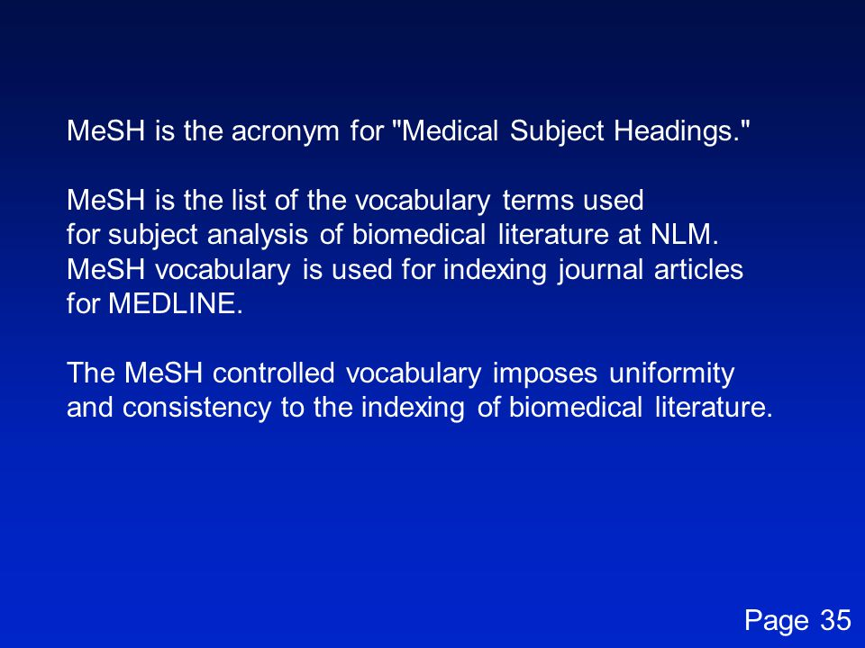 MeSH is the acronym for Medical Subject Headings.
