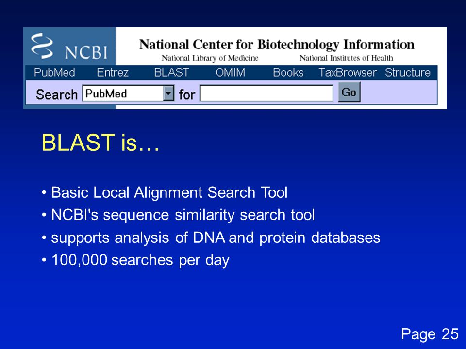 BLAST is… Basic Local Alignment Search Tool