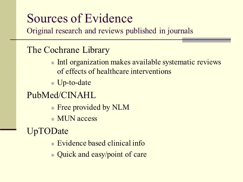 Sources of Evidence Original research and reviews published in journals