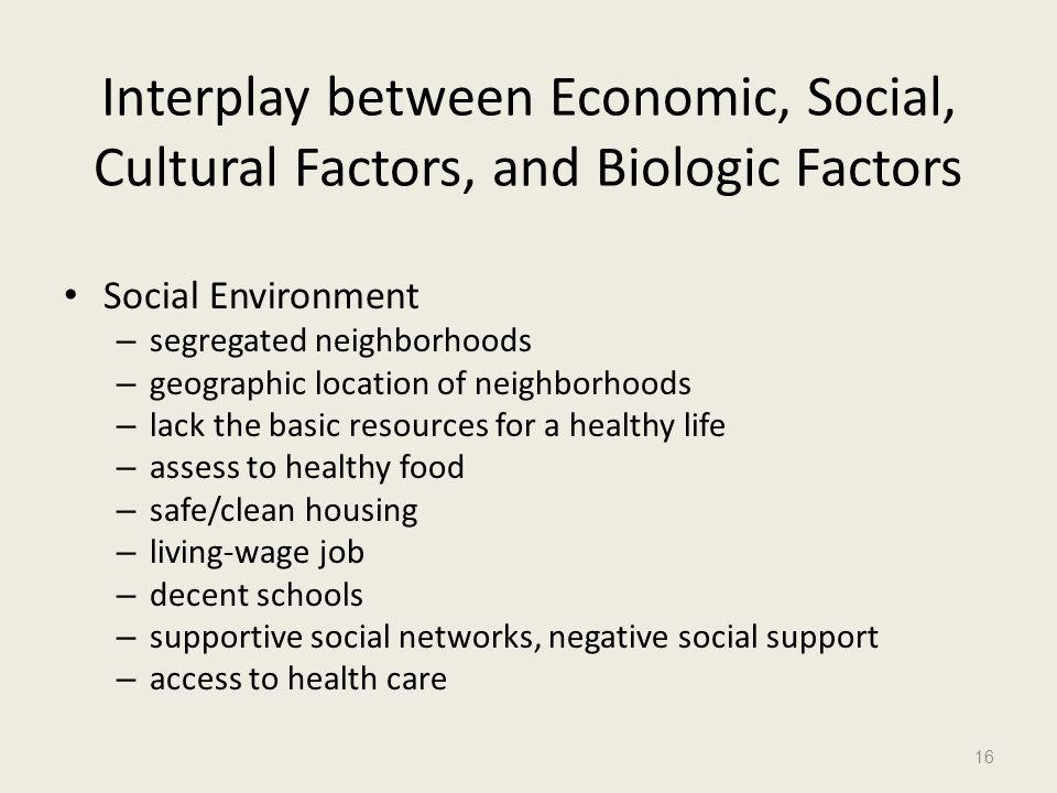 Interplay between Economic, Social, Cultural Factors, and Biologic Factors