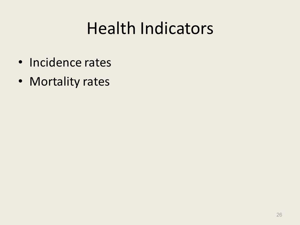 Health Indicators Incidence rates Mortality rates