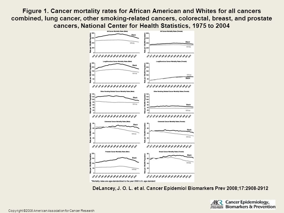 Figure 1. Cancer mortality rates for African American and Whites for all cancers combined, lung cancer, other smoking-related cancers, colorectal, breast, and prostate cancers, National Center for Health Statistics, 1975 to 2004