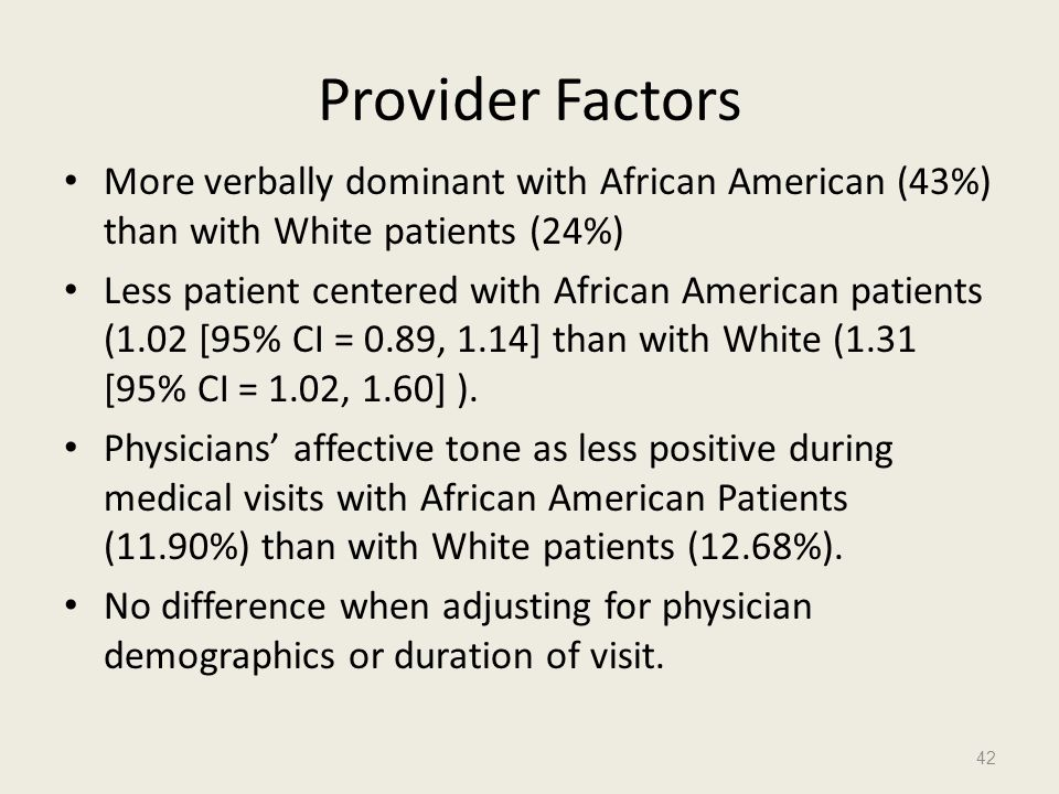 Provider Factors More verbally dominant with African American (43%) than with White patients (24%)