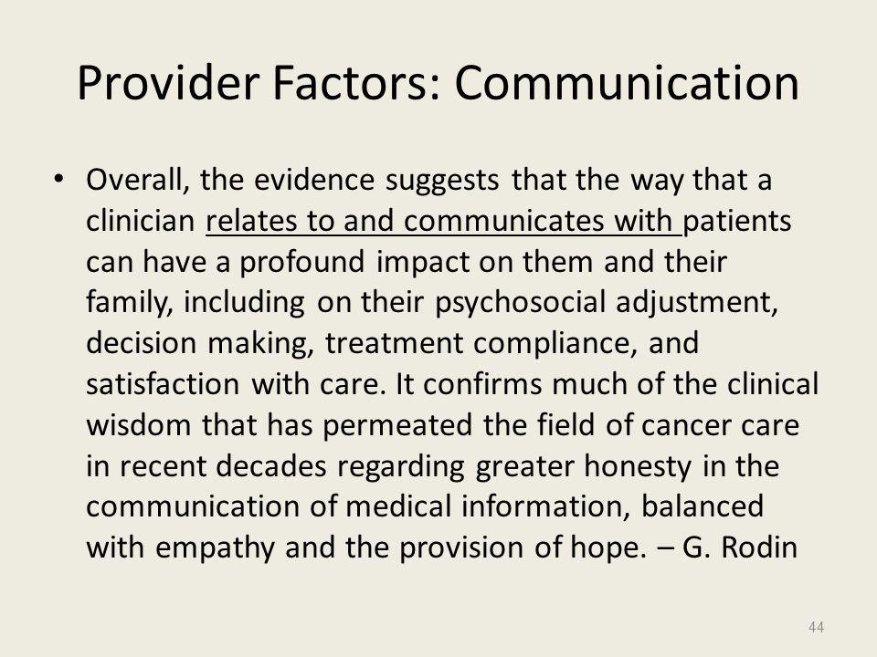 Provider Factors: Communication