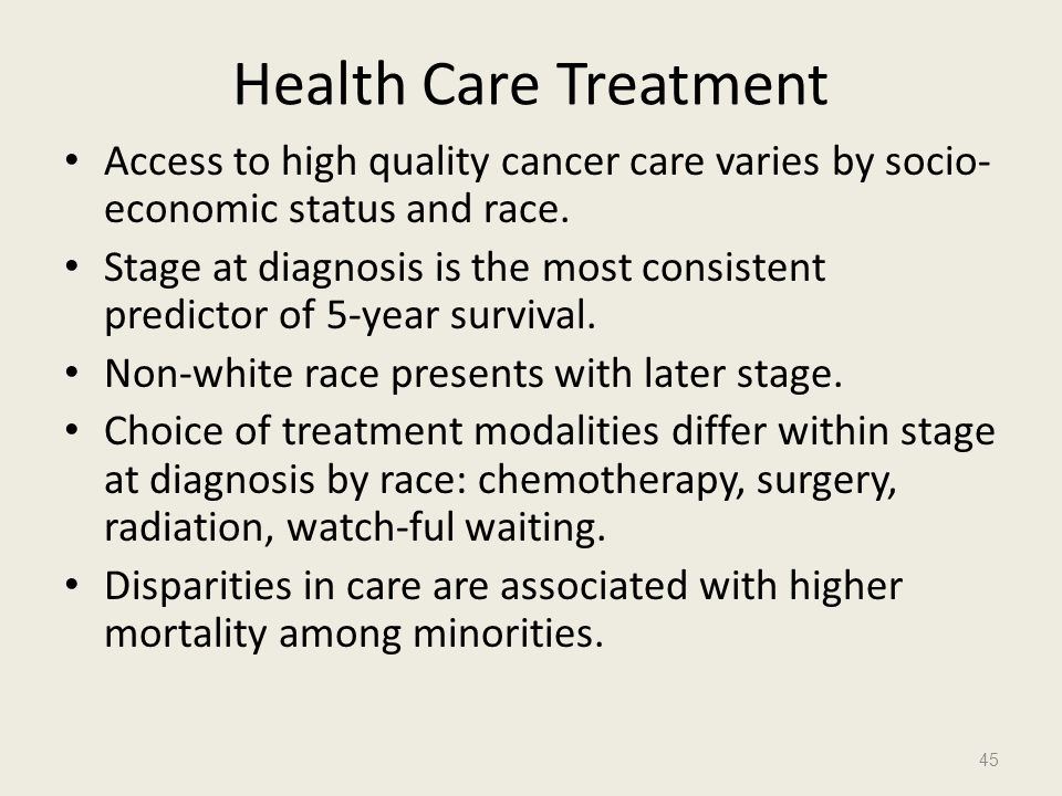Health Care Treatment Access to high quality cancer care varies by socio-economic status and race.
