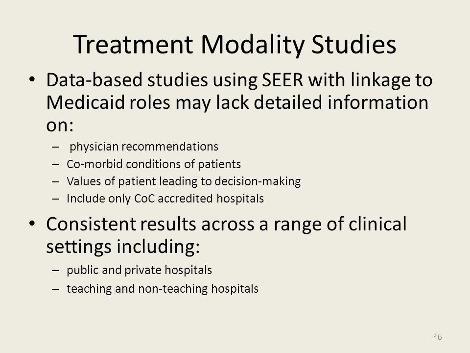 Treatment Modality Studies