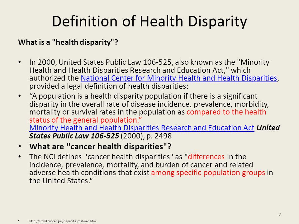Definition of Health Disparity
