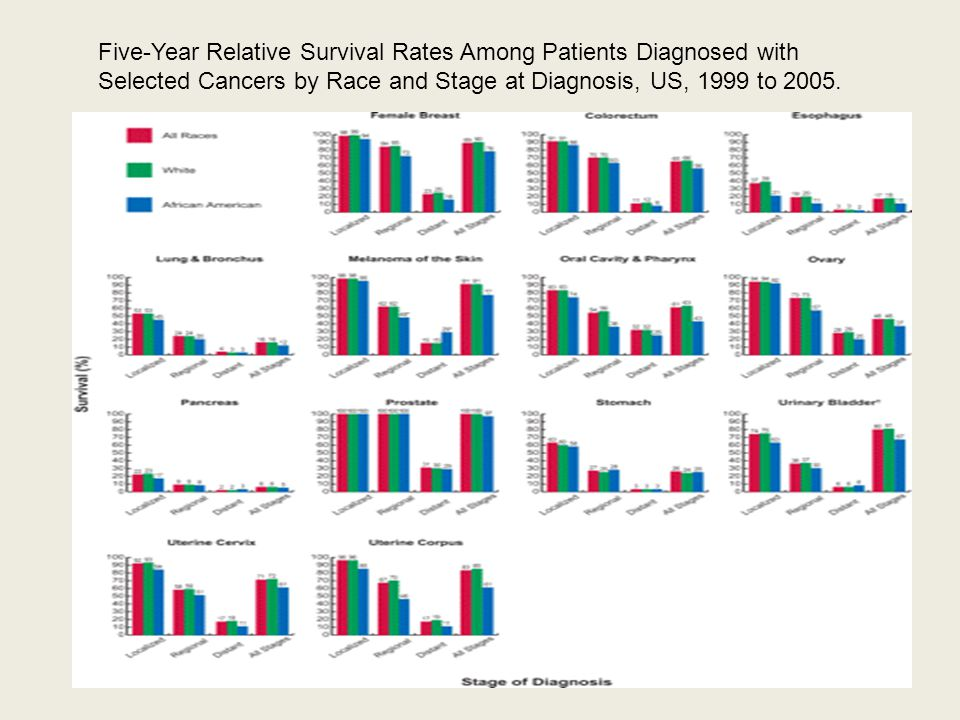 Five-Year Relative Survival Rates Among Patients Diagnosed with Selected Cancers by Race and Stage at Diagnosis, US, 1999 to 2005.