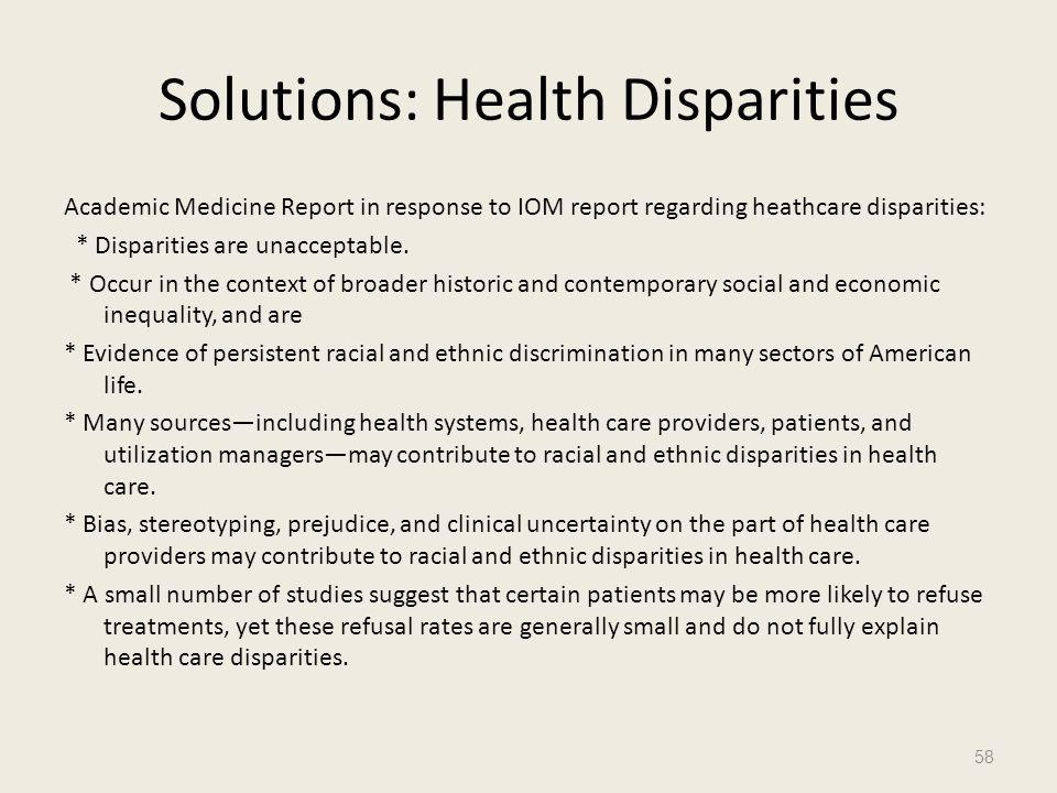 Solutions: Health Disparities