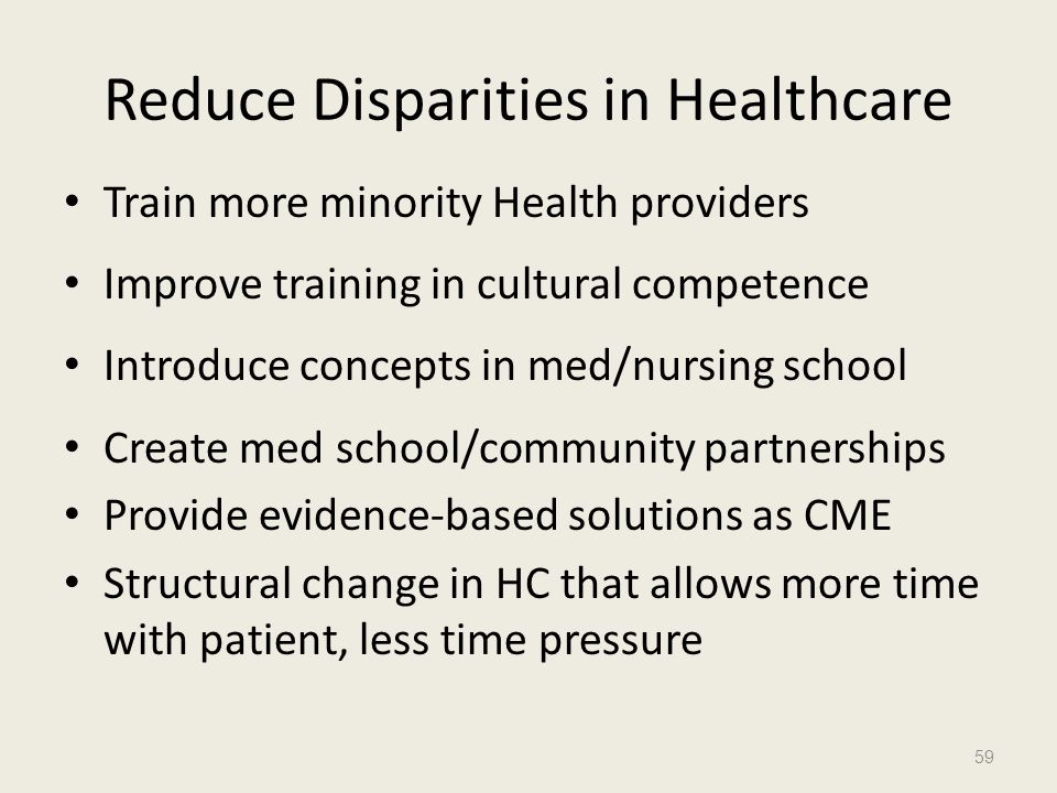Reduce Disparities in Healthcare