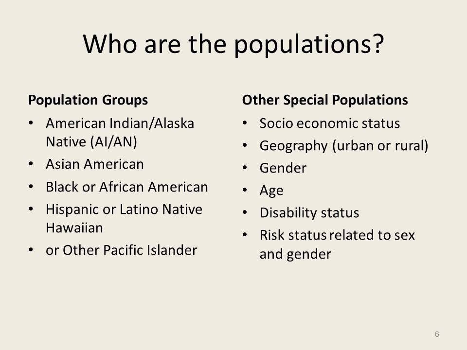 Who are the populations