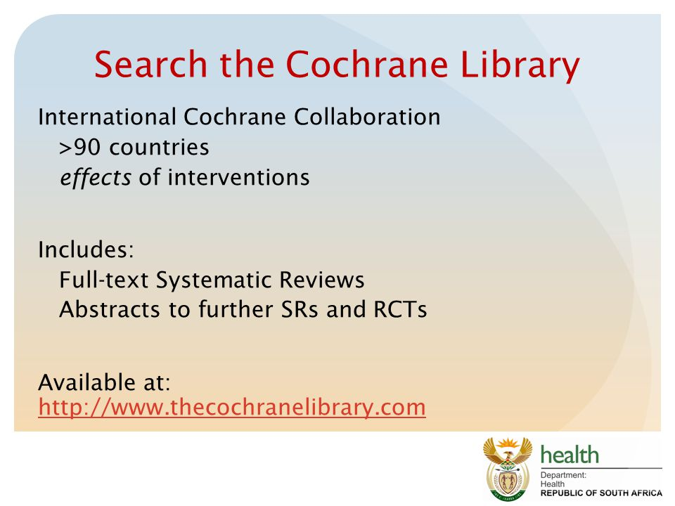 Search the Cochrane Library