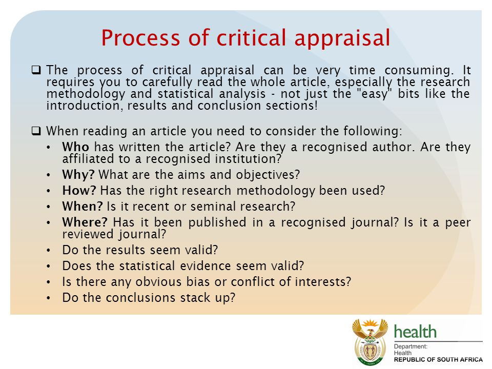 Process of critical appraisal
