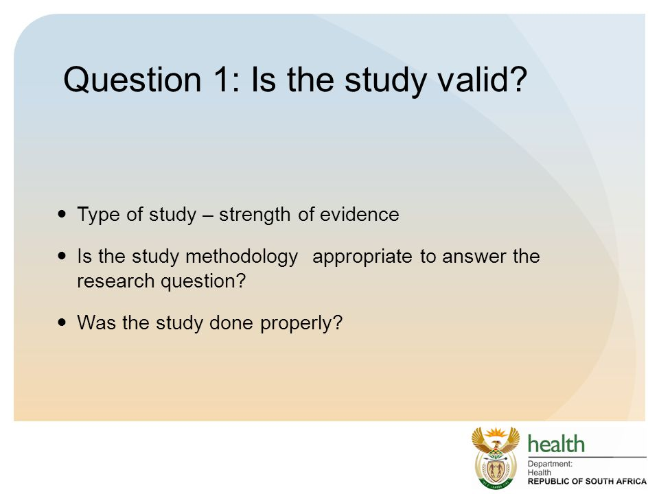 Question 1: Is the study valid