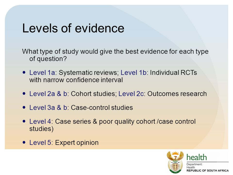 Levels of evidence What type of study would give the best evidence for each type of question
