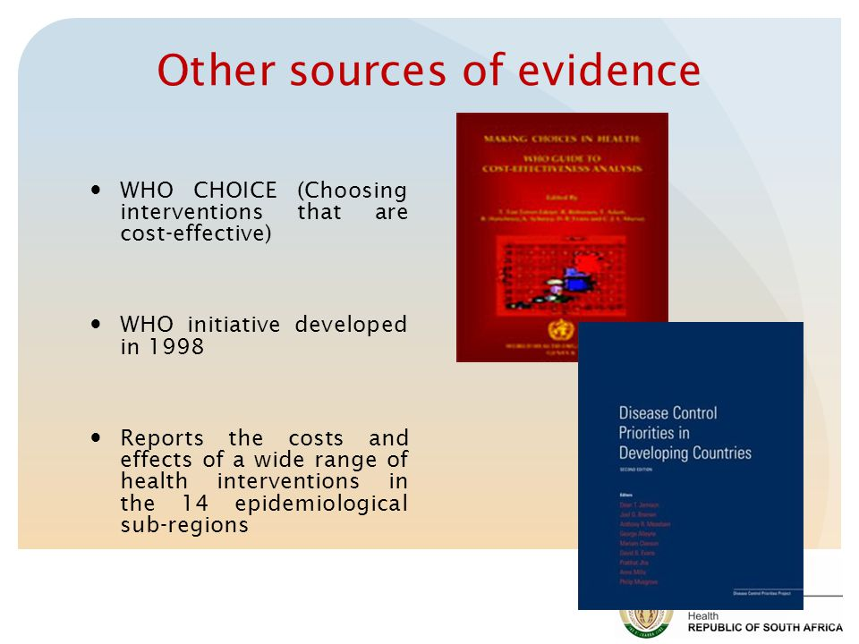 Other sources of evidence