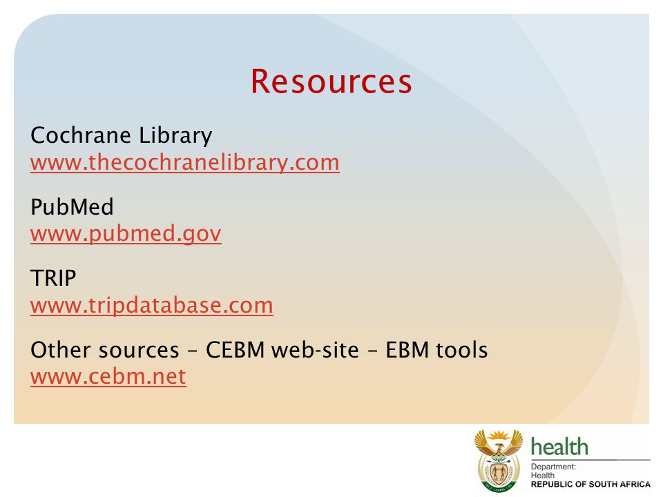 Resources Cochrane Library www.thecochranelibrary.com