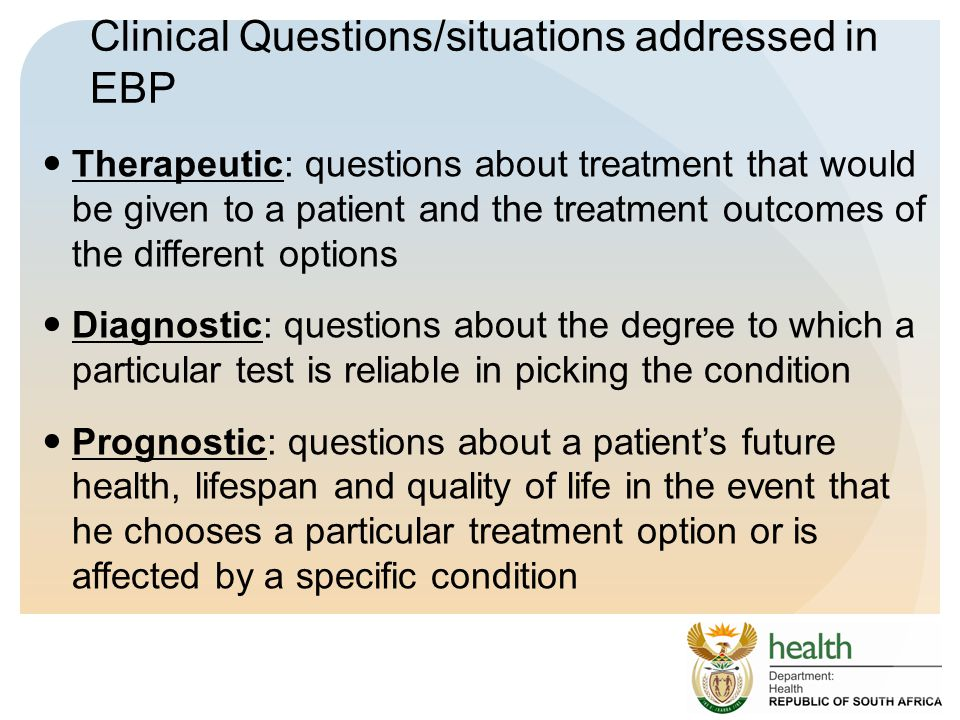 Clinical Questions/situations addressed in EBP
