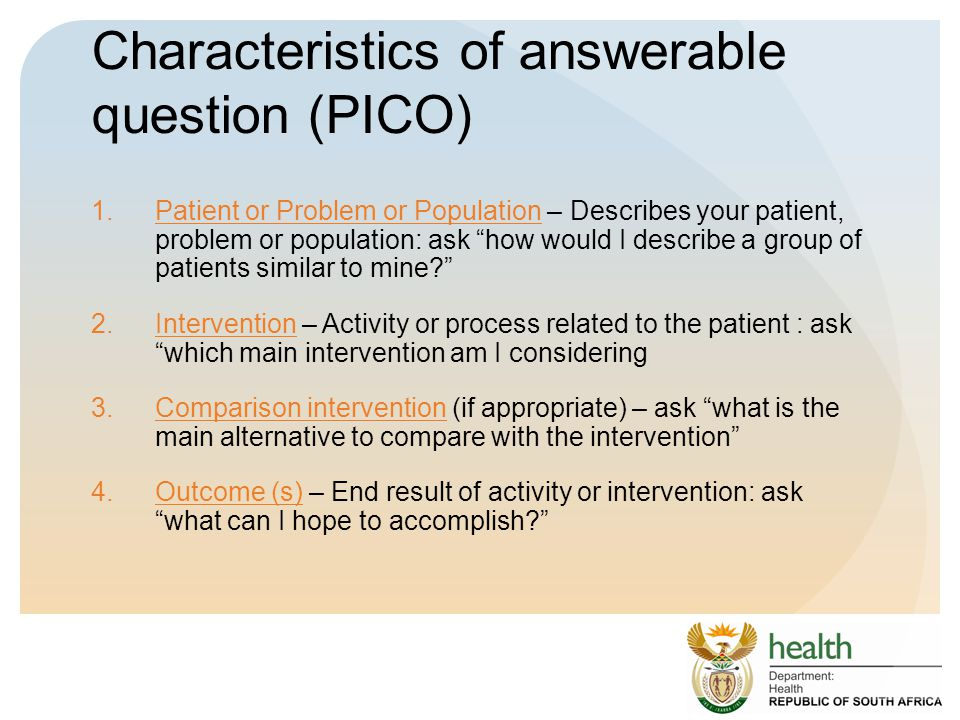 Characteristics of answerable question (PICO)