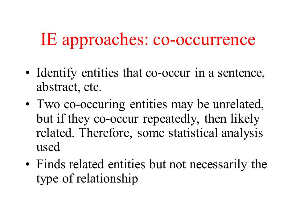 IE approaches: co-occurrence