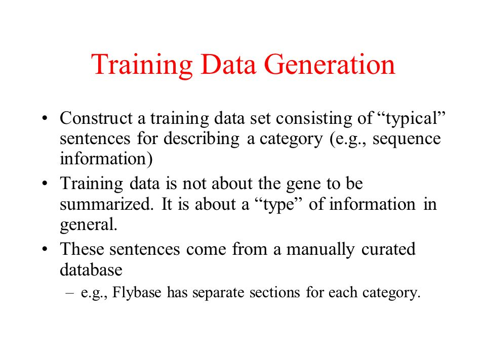Training Data Generation