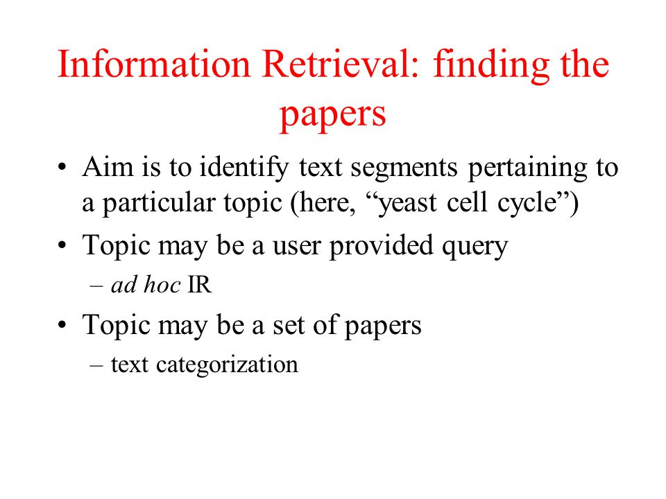 Information Retrieval: finding the papers