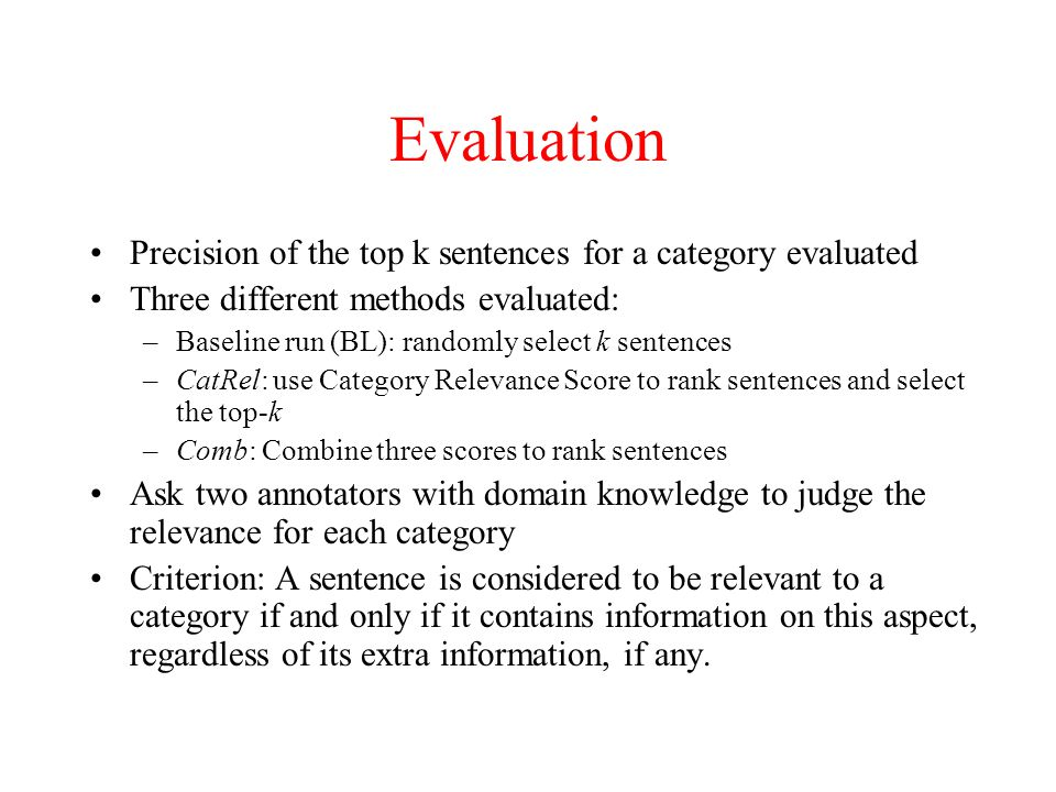 Evaluation Precision of the top k sentences for a category evaluated