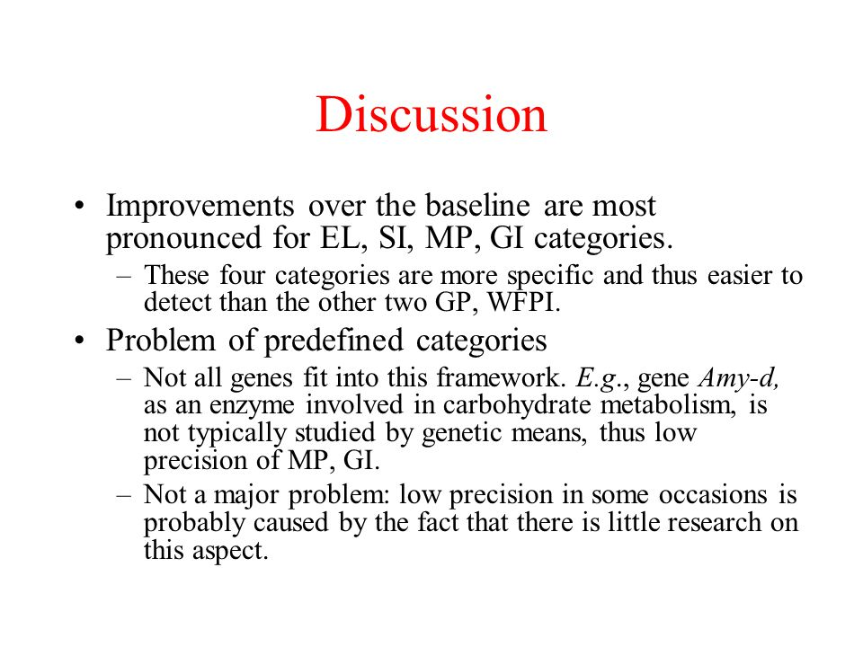 Discussion Improvements over the baseline are most pronounced for EL, SI, MP, GI categories.