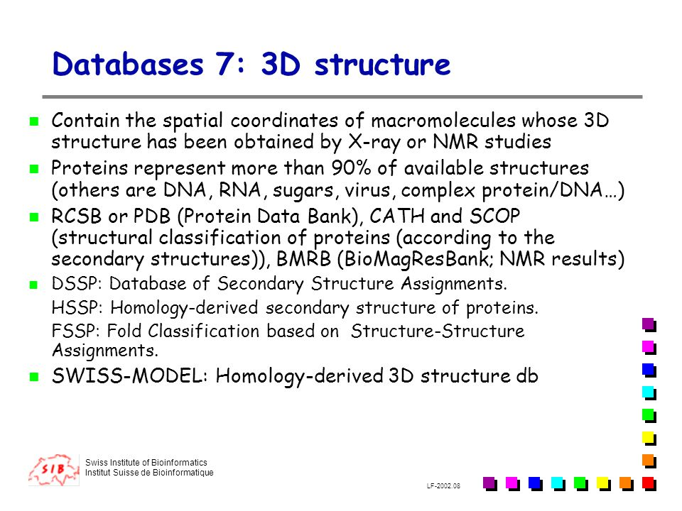Databases 7: 3D structure