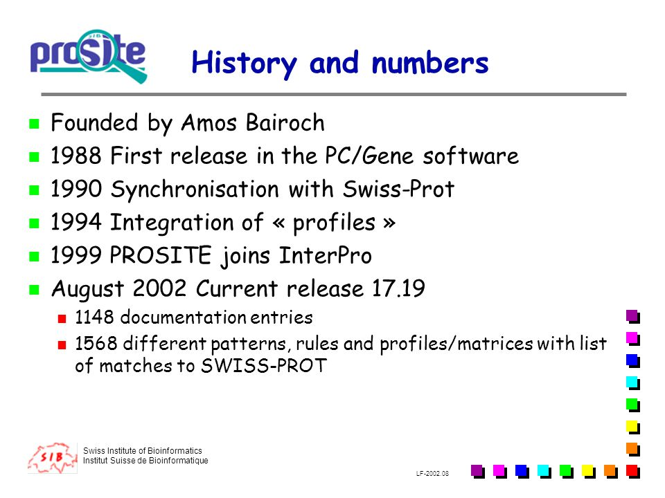 History and numbers Founded by Amos Bairoch