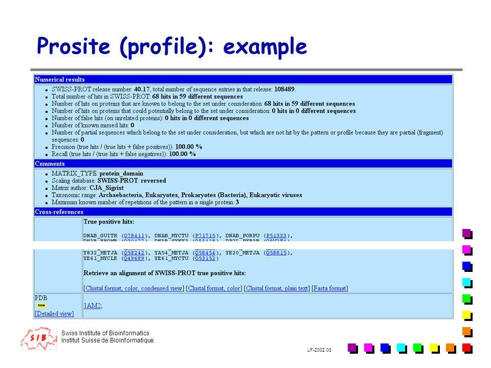 Prosite (profile): example