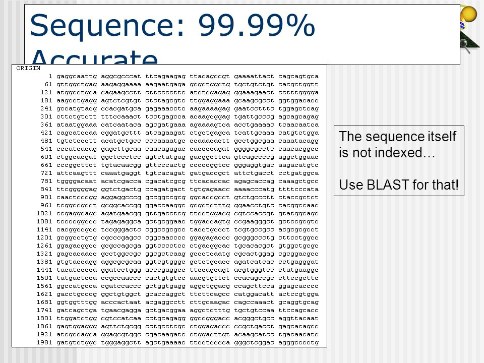 Sequence: 99.99% Accurate The sequence itself is not indexed…