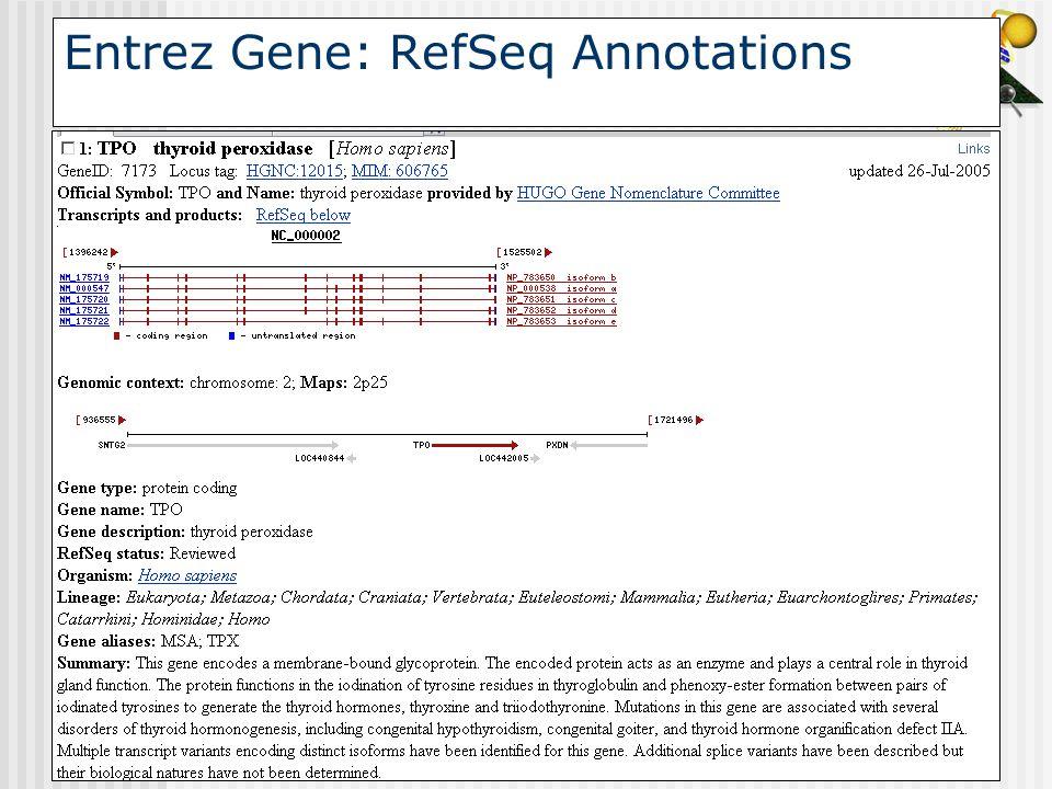 Entrez Gene: RefSeq Annotations