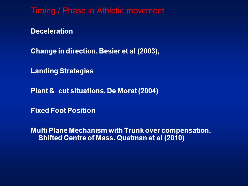 Timing / Phase in Athletic movement