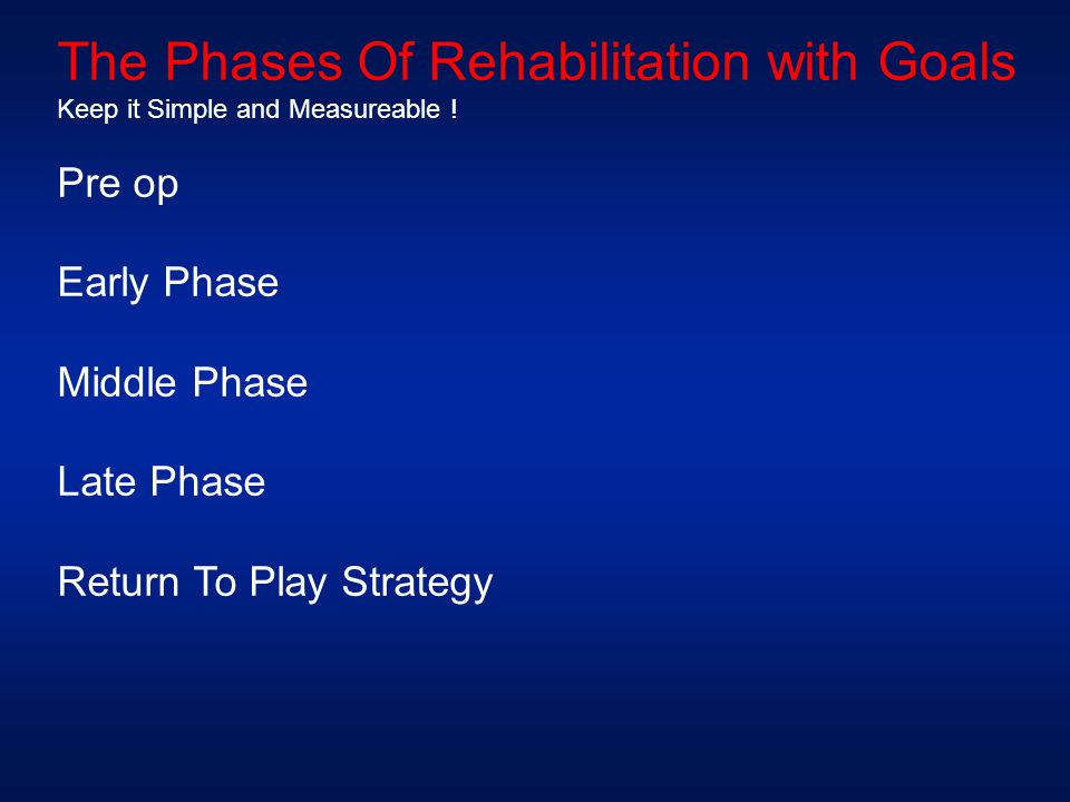 The Phases Of Rehabilitation with Goals