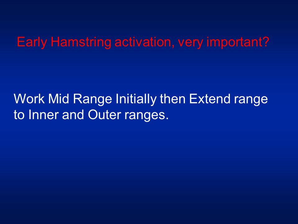 Early Hamstring activation, very important