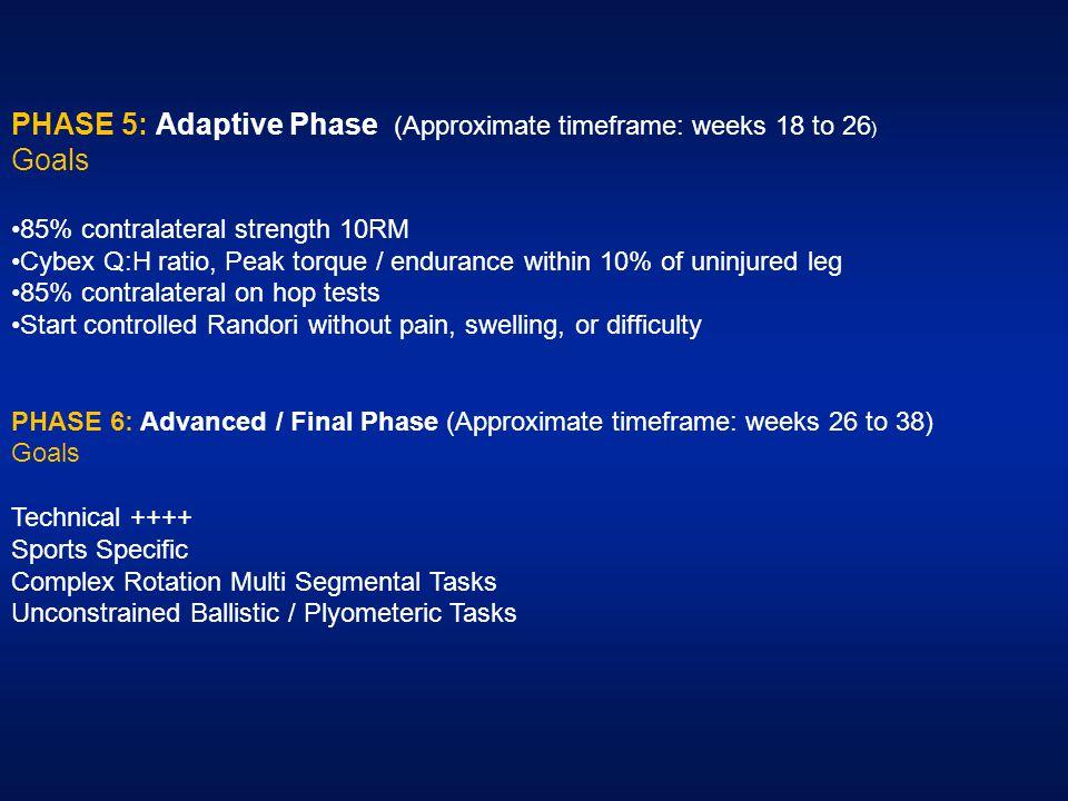 PHASE 5: Adaptive Phase (Approximate timeframe: weeks 18 to 26) Goals