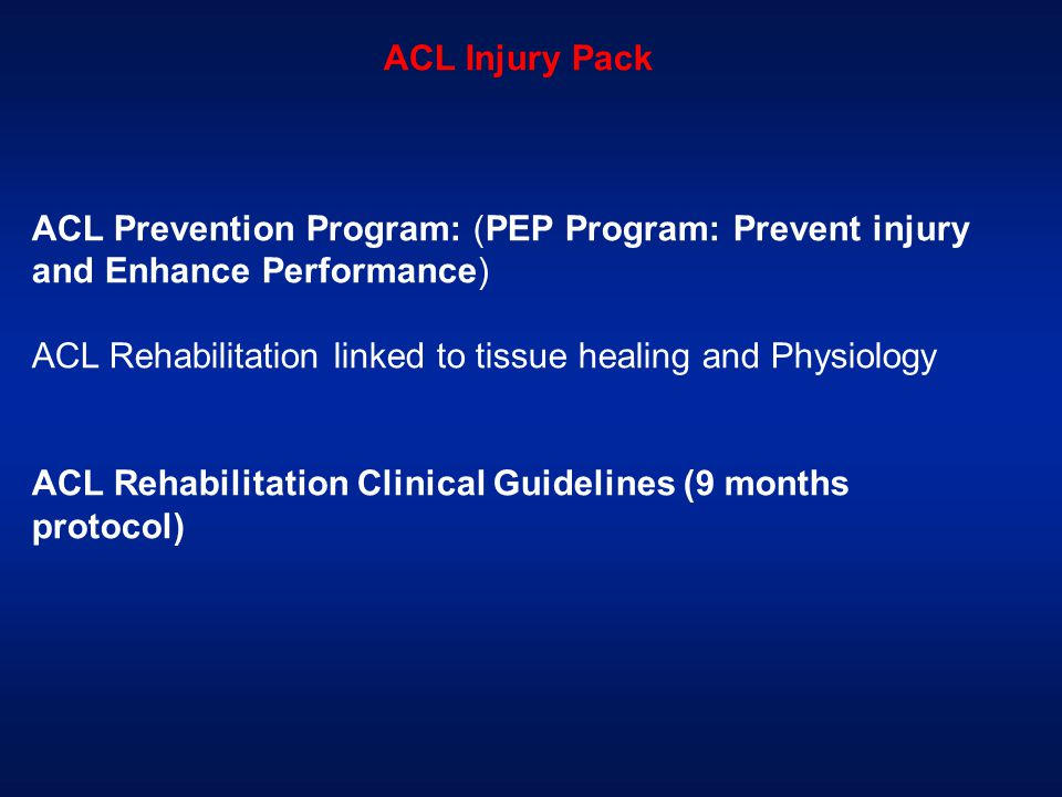 ACL Injury Pack ACL Prevention Program: (PEP Program: Prevent injury and Enhance Performance)