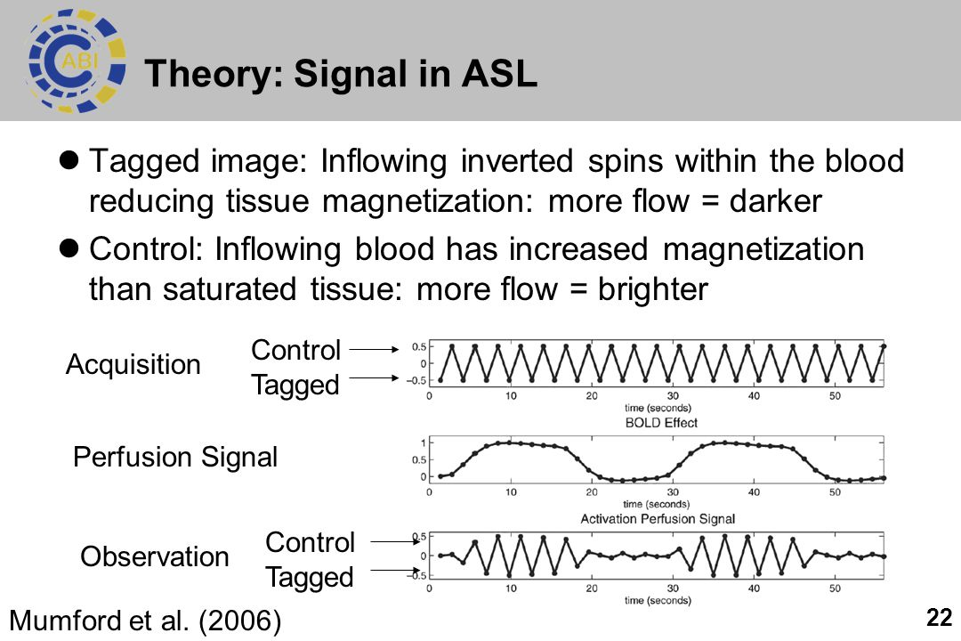 Theory: Signal in ASL Tagged image: Inflowing inverted spins within the blood reducing tissue magnetization: more flow = darker.