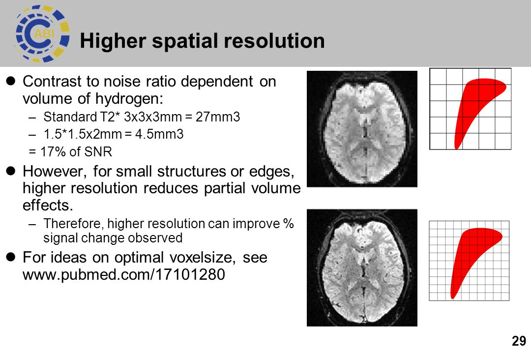 Higher spatial resolution