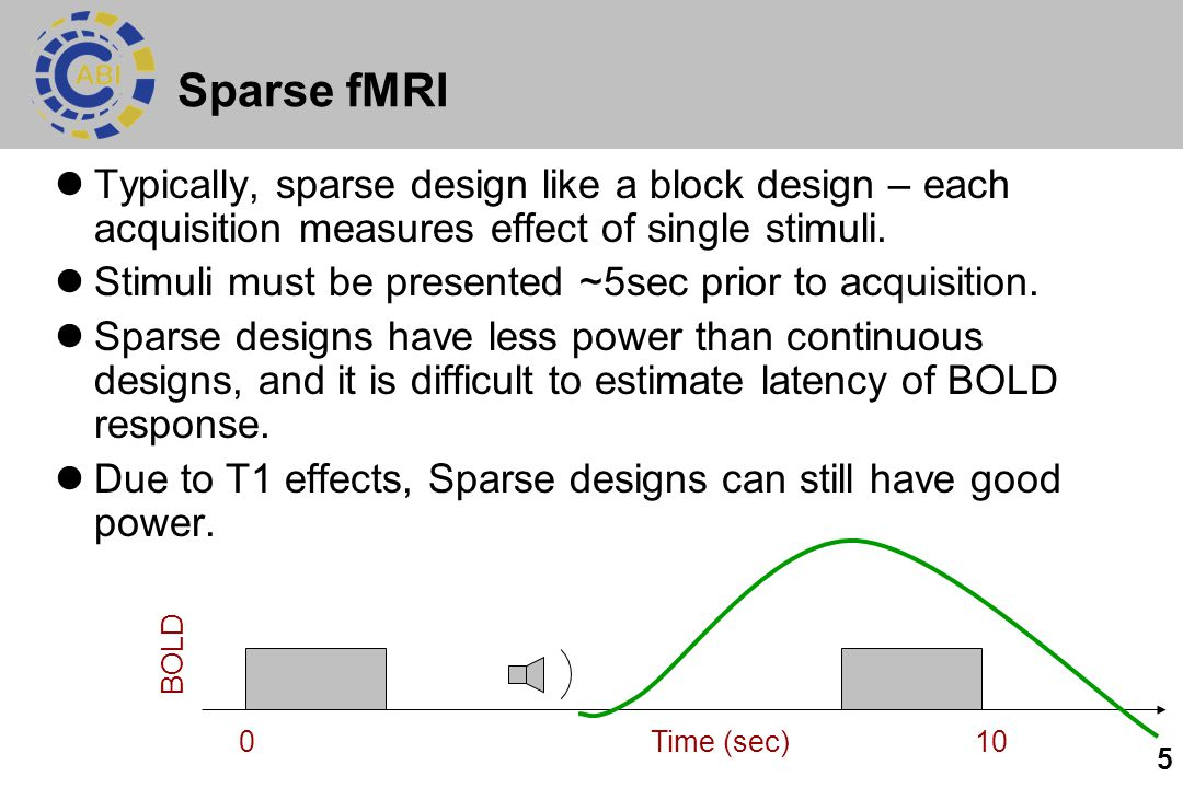 Sparse fMRI Typically, sparse design like a block design – each acquisition measures effect of single stimuli.