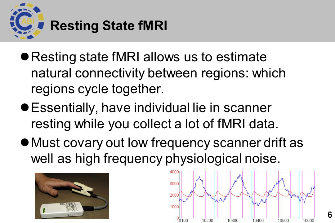 Resting State fMRI Resting state fMRI allows us to estimate natural connectivity between regions: which regions cycle together.