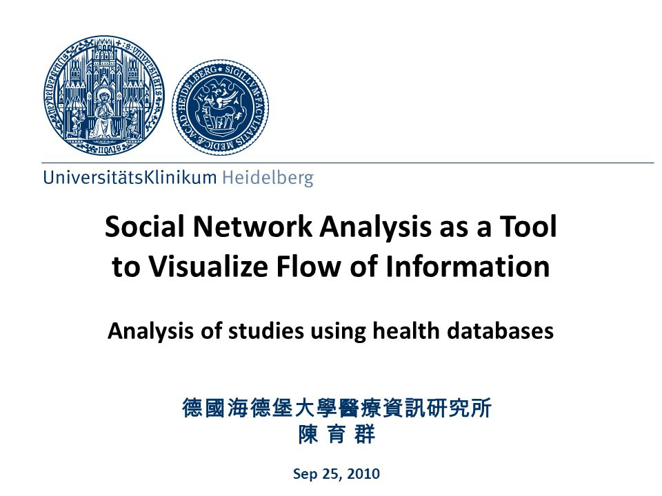 Social Network Analysis as a Tool to Visualize Flow of Information Analysis of studies using health databases
