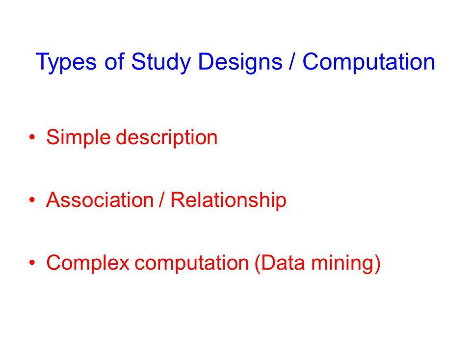 Types of Study Designs / Computation