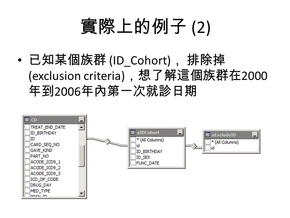 實際上的例子 (2) 已知某個族群 (ID_Cohort), 排除掉(exclusion criteria),想了解這個族群在2000年到2006年內第一次就診日期