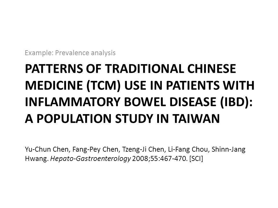 Example: Prevalence analysis