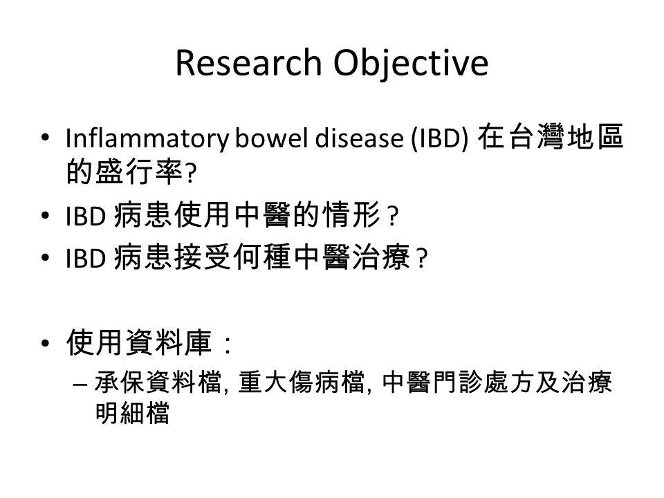 Research Objective Inflammatory bowel disease (IBD) 在台灣地區的盛行率