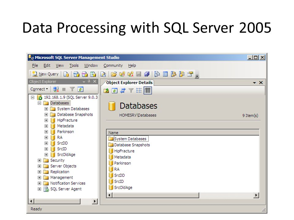 Data Processing with SQL Server 2005