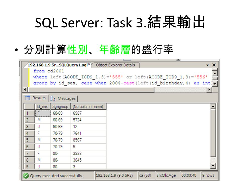 SQL Server: Task 3.結果輸出 分別計算性別、年齡層的盛行率