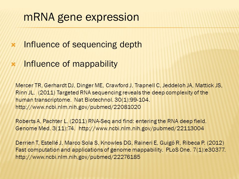 mRNA gene expression Influence of sequencing depth